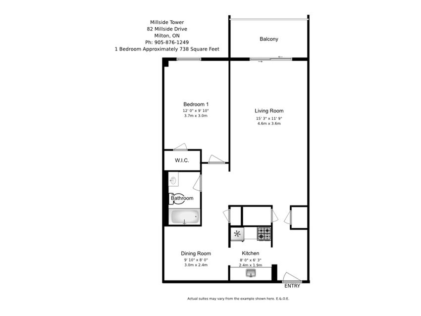 One bedroom, one bathroom apartment layout at Millside Tower in Milton, ON