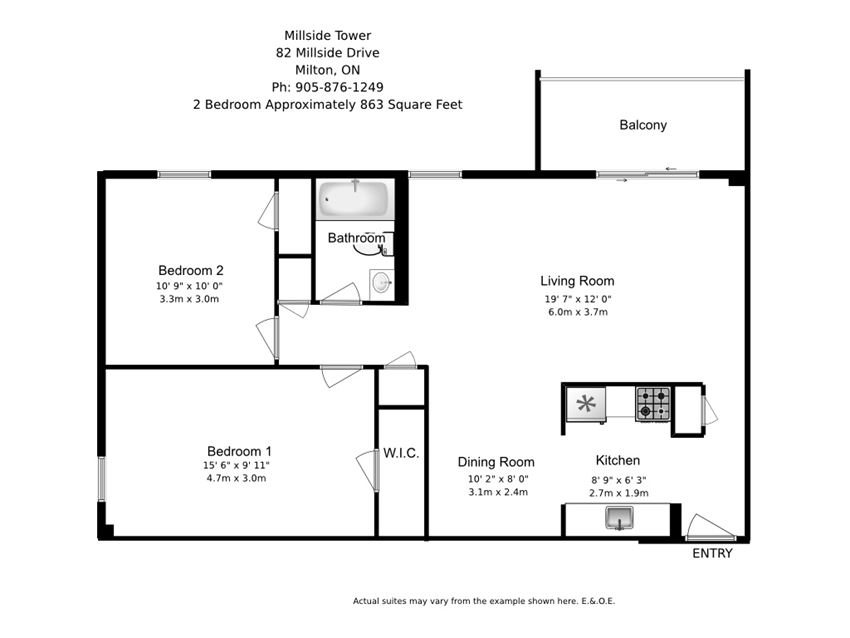 Two bedroom, one bathroom apartment layout at Millside Tower in Milton, ON