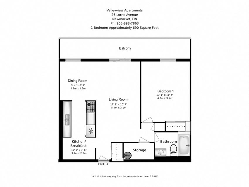 Floor plan of 1 bed, 1 bath, spacious, customizable apartment at Valleyview in Newmarket, ON