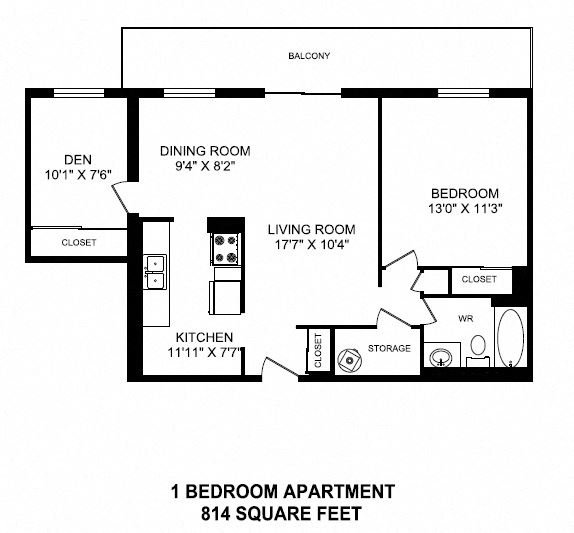 Floor plan of 1 bed plus den, 1 bath, generous luxury suite with balcony at Valleyview in Newmarket, ON