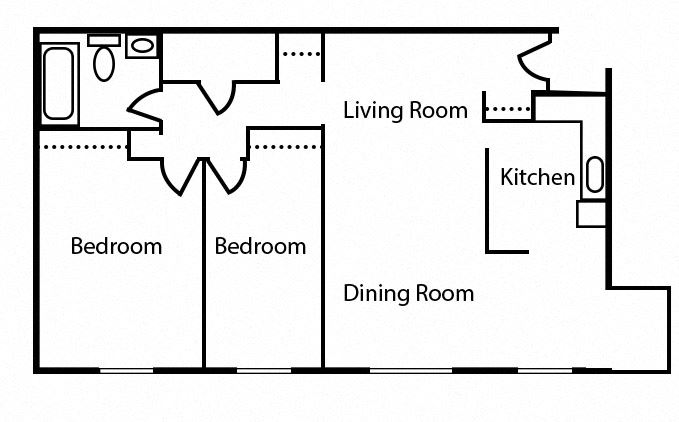 Floor plan of 2 bed, 1 bath contemporary suite at Valleyview in Newmarket, ON