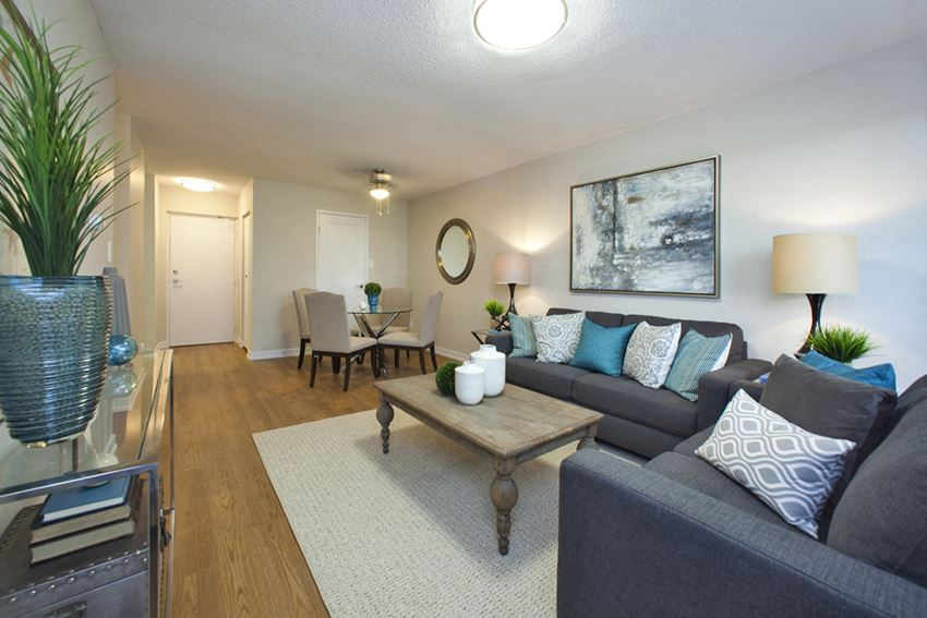Dorchester Apartments large, modern living room with hard surface flooring in Niagara Falls, ON