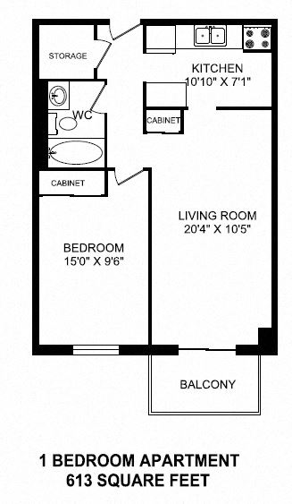 One bedroom, one bathroom apartment layout at Dorchester Apartments in Niagara Falls, ON