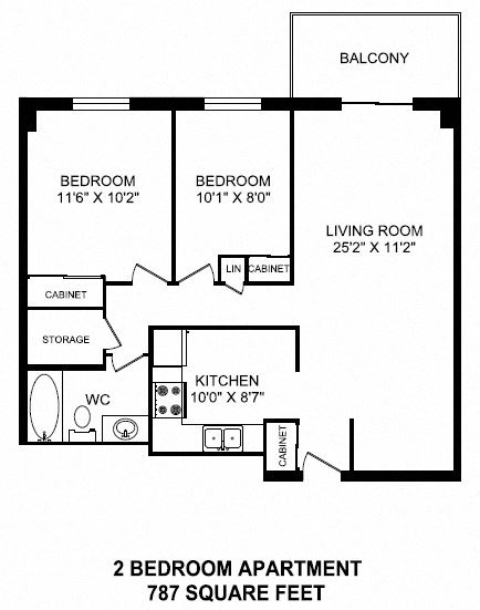 Two bedroom, one bathroom apartment layout at Dorchester Apartments in Niagara Falls, ON