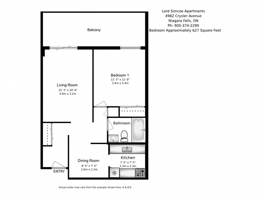 One bedroom, one bathroom apartment layout at Lord Simcoe Apartments in Niagara Falls, ON