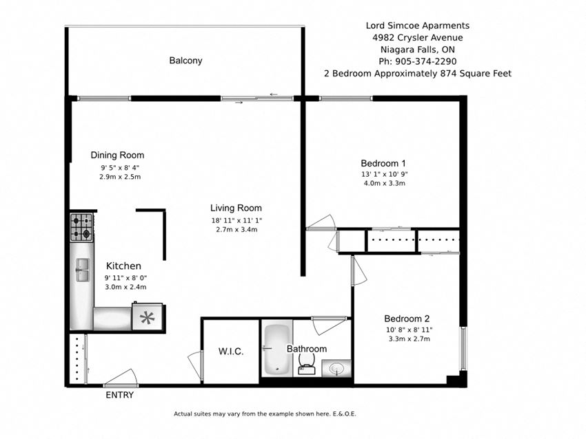 Two bedroom, one bathroom apartment layout at Lord Simcoe Apartments in Niagara Falls, ON