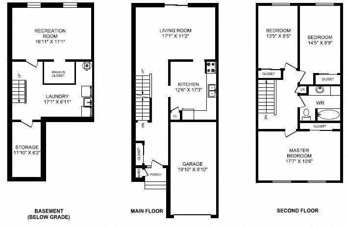 Three bedroom, one bathroom apartment layout at Taunton Terrace in Oshawa, ON