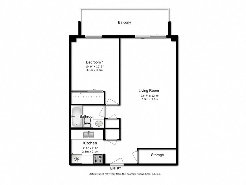 Floor plan of 1 bed, 1 bath, balcony and amenity access at Marlan Towers in Owen Sound, ON