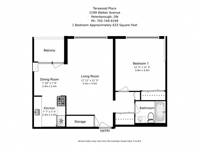 One bedroom, one bathroom apartment layout at Tarawood Place in Peterborough, ON