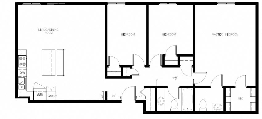 Three bedroom, two bathroom apartment layout at Northumberland Place in Port Hope, ON