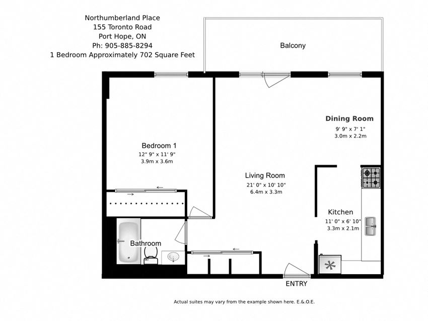 One bedroom, one bathroom apartment layout at Northumberland Place in Port Hope, ON