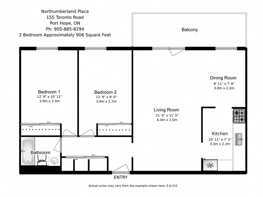 Two bedroom, one bathroom apartment layout at Northumberland Place in Port Hope, ON