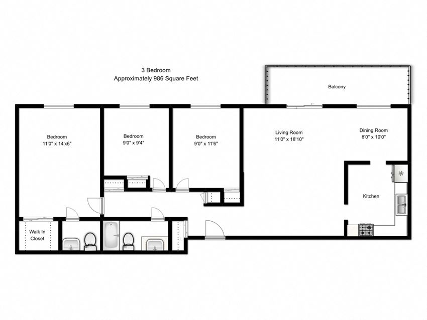 Two bedroom, two bathroom apartment layout at Northumberland Place in Port Hope, ON