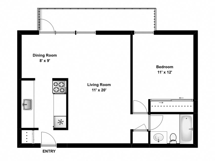 Floor plan of 1 bed, 1 bath, modern suite with balcony