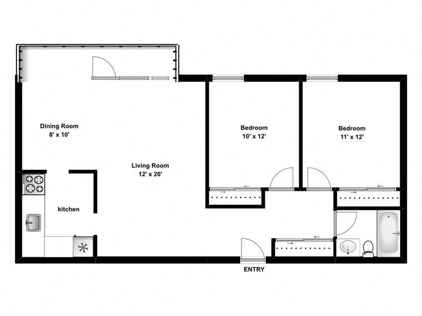 Floor plan of 2 bed, 1 bath, generous apartments with balcony