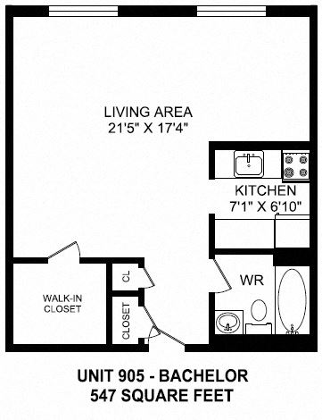 Bachelor, one bathroom apartment layout at Fairway Towers in Sarnia, ON