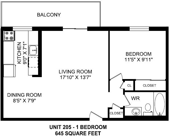 One bedroom, one bathroom apartment layout at High Park Apartments in Sarnia, ON
