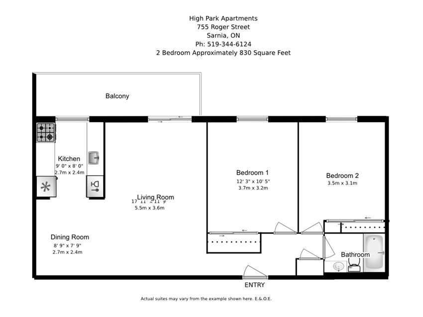 Two bedroom, one bathroom apartment layout at High Park Apartments in Sarnia, ON