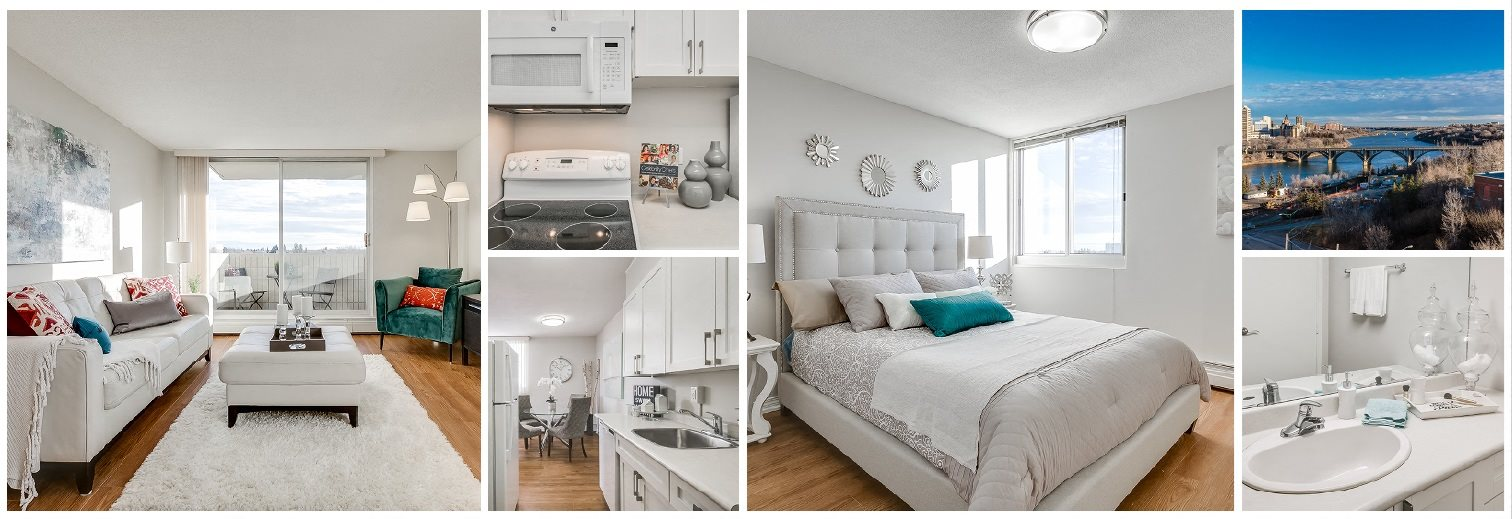 Collage of interior, exterior, and lifestyle images at Victoria Place in Saskatoon, SK