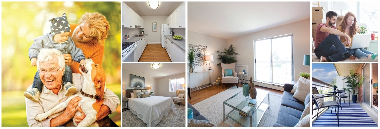 Collage of interior, exterior, and lifestyle images at Linden Court in St. Catharines, ON