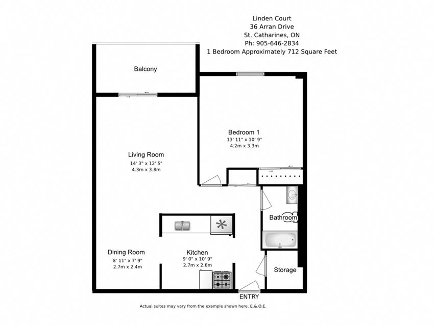 One bedroom, one bathroom apartment layout at Linden Court in St. Catharines, ON