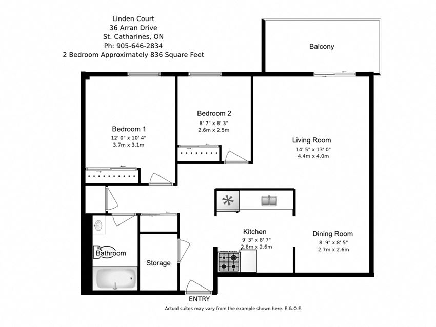 Two bedroom, one bathroom apartment layout at Linden Court in St. Catharines, ON