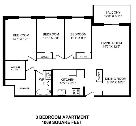 Three bedroom, one bathroom apartment layout at Linden Court in St. Catharines, ON