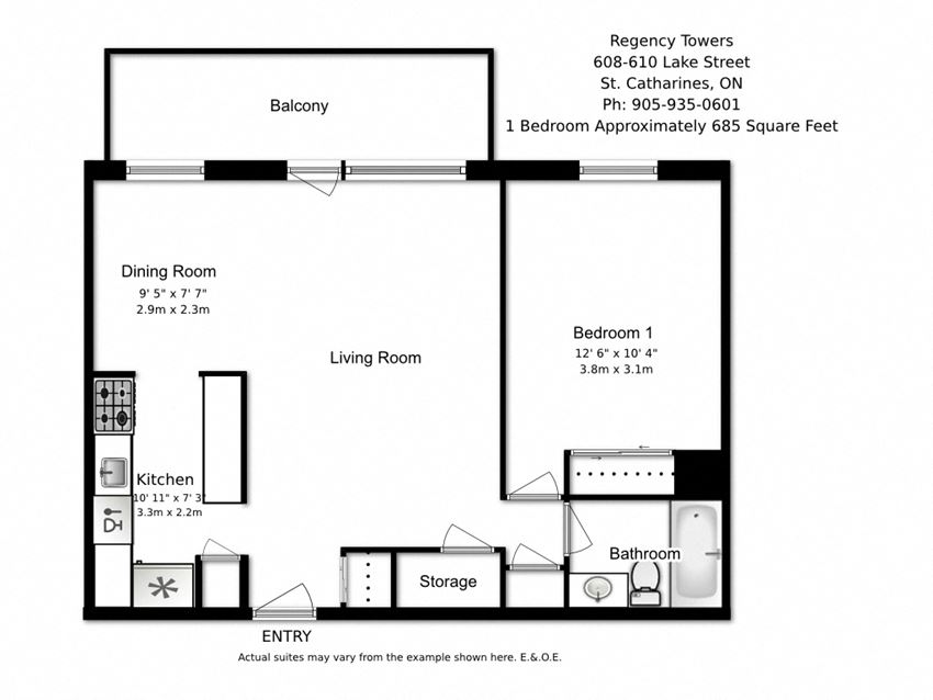 One bedroom, one bathroom apartment layout at Regency Towers in St. Catherines, ON