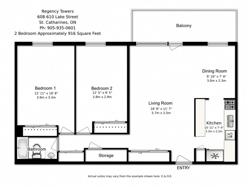 Two bedroom, one bathroom apartment layout at Regency Towers in St. Catherines, ON
