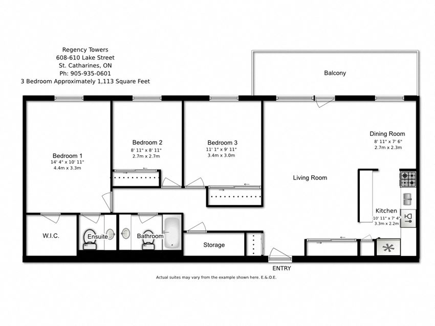 Three bedroom, one bathroom apartment layout at Regency Towers in St. Catherines, ON