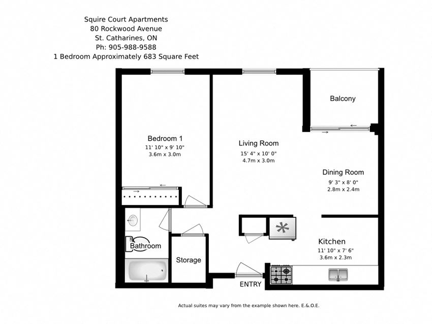 One bedroom, one bathroom apartment layout at Squire Court in St. Catharines, ON