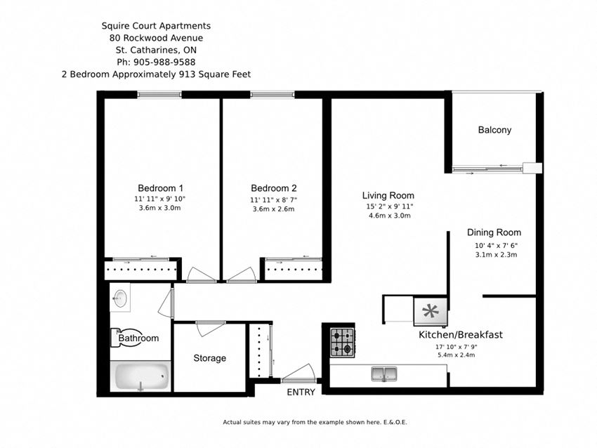 Two bedroom, one bathroom apartment layout at Squire Court in St. Catharines, ON