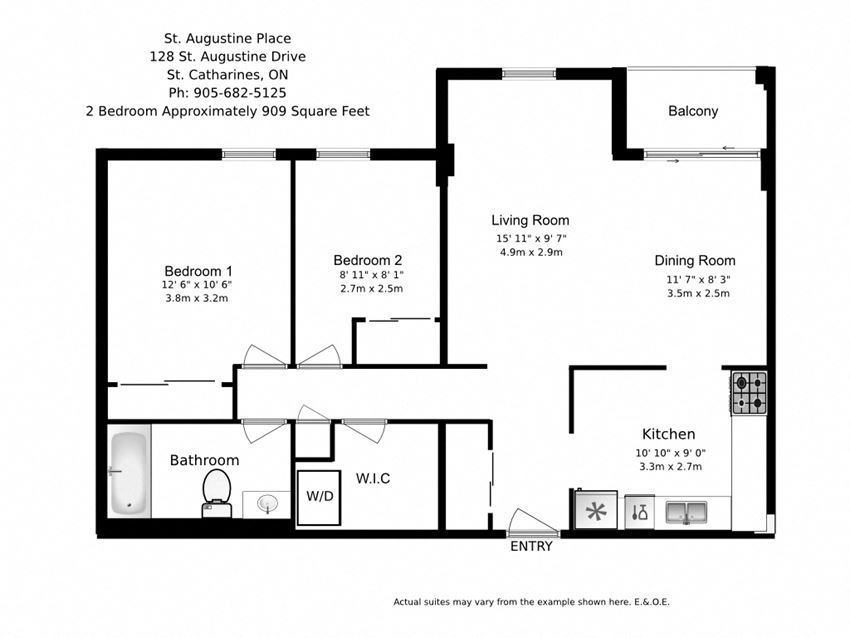 Two bedroom, one bathroom apartment layout at St. Augustine Place in St. Catharines, ON