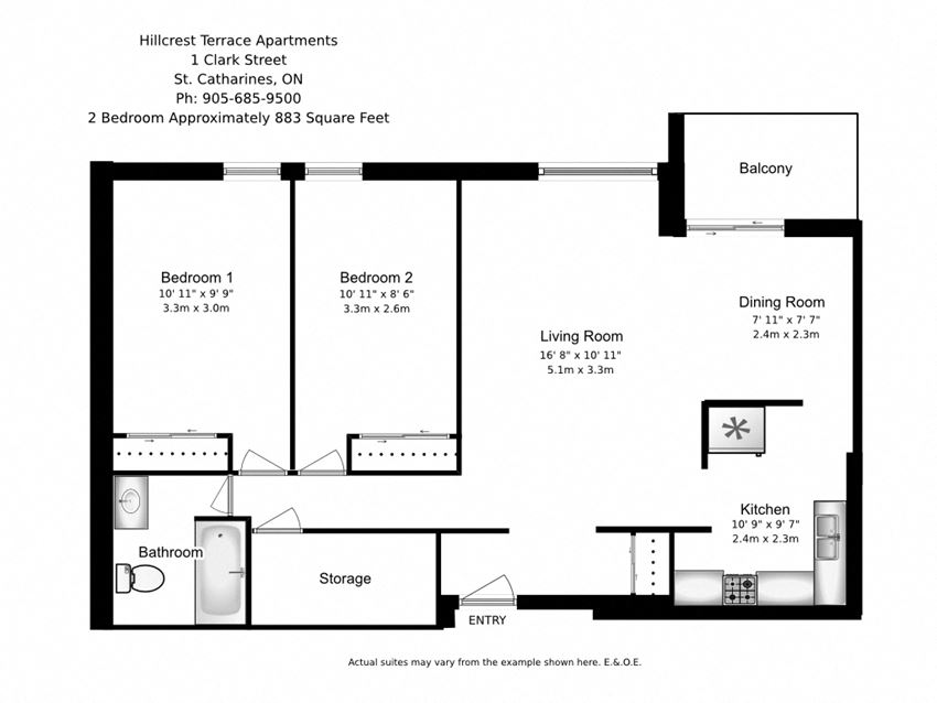 Two bedroom, one bathroom apartment layout at Hillcrest Terrace in St. Catharines, ON