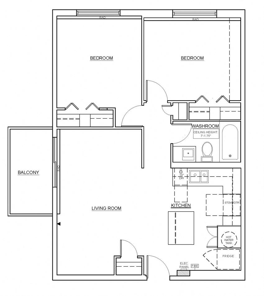 Two bedroom, one bathroom apartment layout at Oakdale Heights in St. Catharines, ON