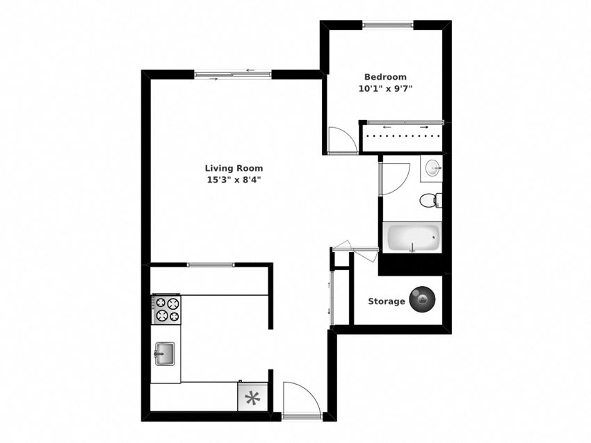 One bedroom, one bathroom apartment layout at Oakdale Heights in St. Catharines, ON