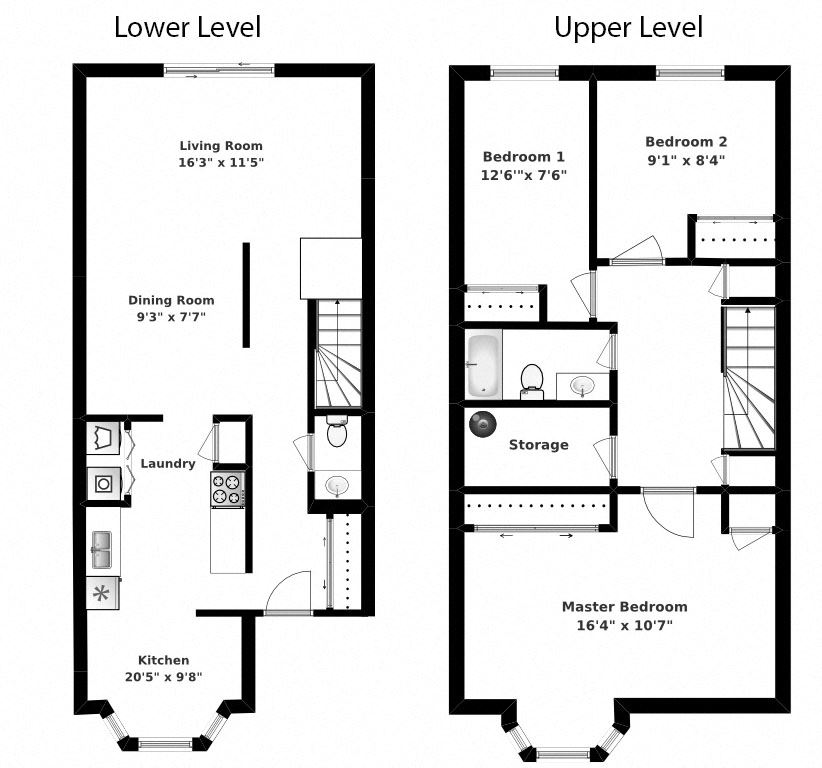 Three bedroom, one bathroom apartment layout at Oakdale Heights in St. Catharines, ON