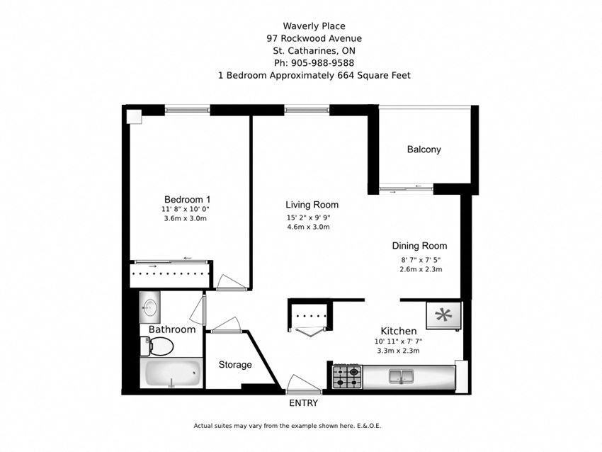 One bedroom, one bathroom apartment layout at Waverly Place in St. Catharines, ON