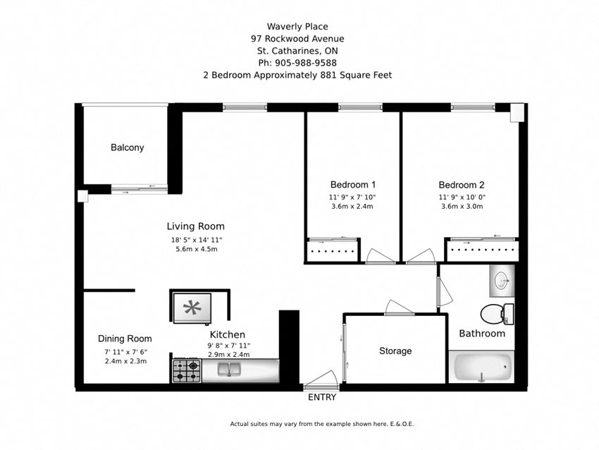 Two bedroom, one bathroom apartment layout at Waverly Place in St. Catharines, ON