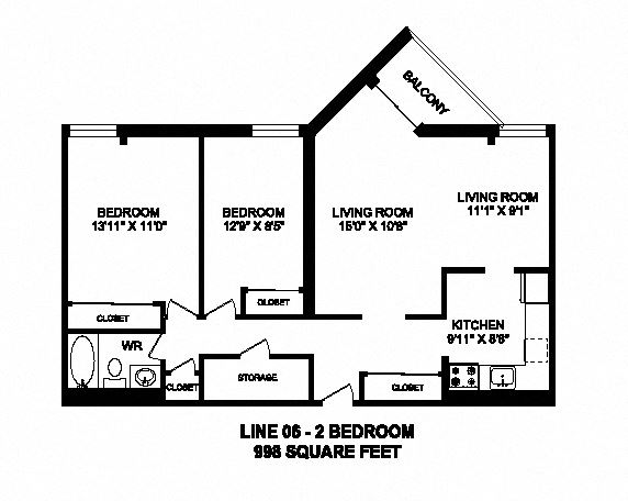Two bedroom, one bathroom apartment layout at Sunset Towers in St. Thomas, ON