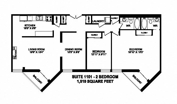 Two bedroom, two bathroom apartment layout at Sunset Towers in St. Thomas, ON