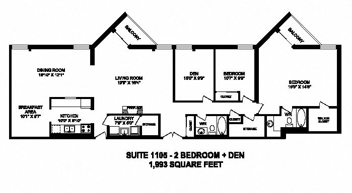 Two bedroom plus den, two bathroom apartment layout at Sunset Towers in St. Thomas, ON