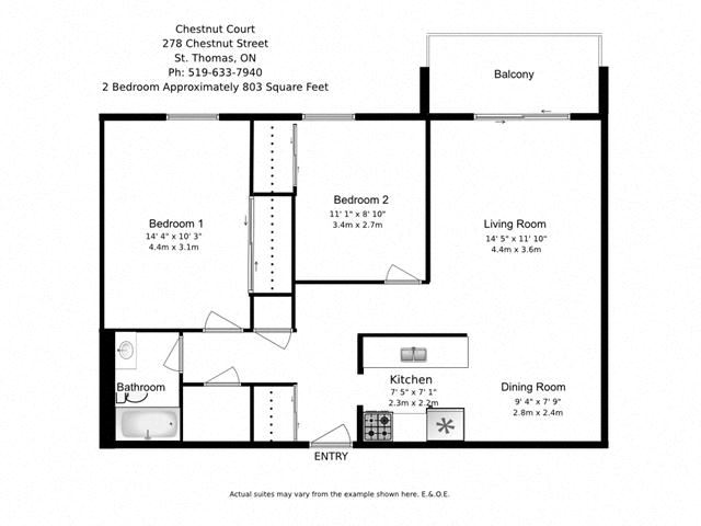 Two bedroom, one bathroom apartment layout at Chestnut Court in St. Thomas, ON