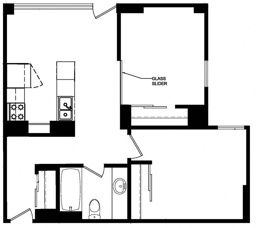 One bedroom plus den, one bathroom apartment layout at Main Square in Toronto, ON