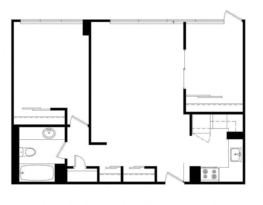 Two bedroom, one bathroom apartment layout at Main Square in Toronto, ON