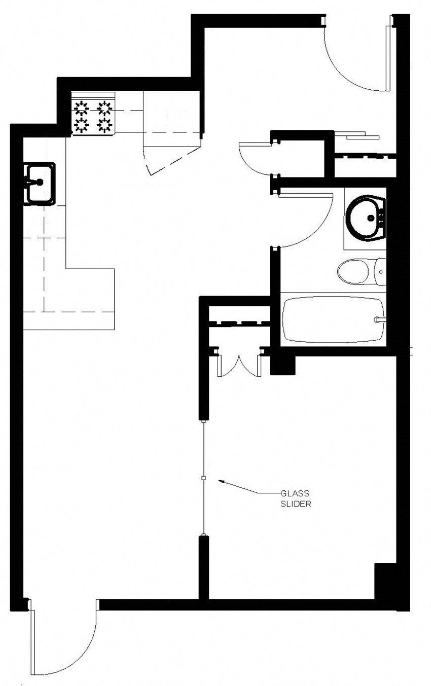 Junior one bedroom, one bathroom apartment layout at Main Square in Toronto, ON