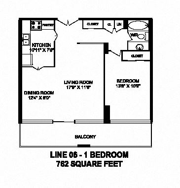 One bedroom, one bathroom apartment layout at Monaco Towers in Toronto, ON