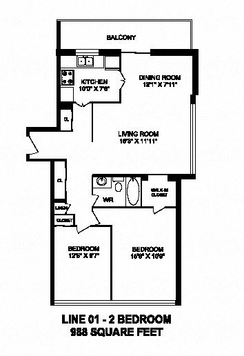 Two bedroom, one bathroom apartment layout at Monaco Towers in Toronto, ON