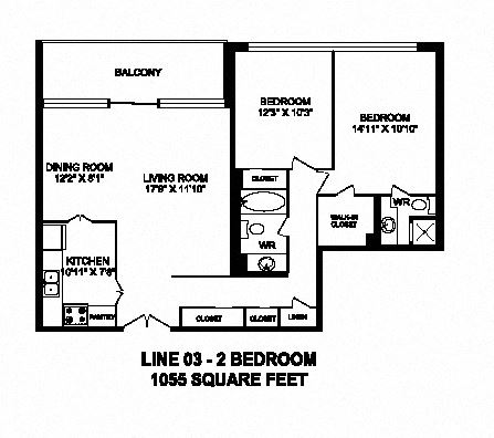 Two bedroom, two bathroom apartment layout at Monaco Towers in Toronto, ON