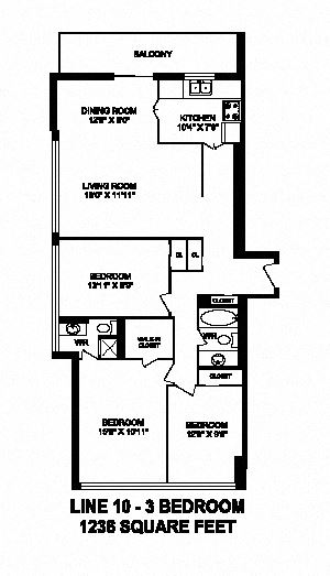 Three bedroom, two bathroom apartment layout at Monaco Towers in Toronto, ON